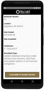 Work order information - screen
